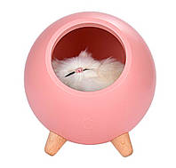 Детский ночник Котик в домике, светильник с регулировкой яркости, розовый
