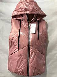 Желетка жіночий з капюшоном плащівка 42 44 46 48 50 оптом Рожевий