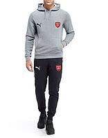 Футбольный костюм Arsenal, Арсенал, Пума, Puma, с капюшоном, серо-черный