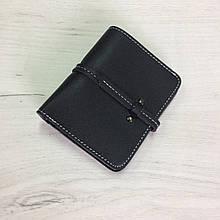 Маленький кошелек с отделом для мелочи ремешок-застежка (0827) Черный