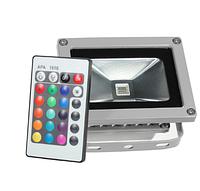 Светодиодный прожектор 10Вт RGB цветной, с пультом