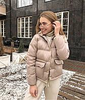 Женская осенняя куртка плащевка на силиконе черный красный бежевый белый голубой фреза 42 44 46