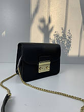 Сумка через плечо под фактуру кожи в стиле Фурла (0236) Черный