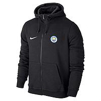 Футбольная кофта, толстовка клубная, кофта Манчестер Сити Найк, Manchester City, Nike, с капюшоном, черная, ф
