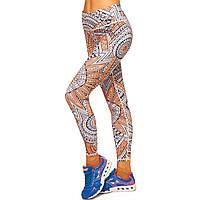 Лосины для фитнеса и йоги с принтом Domino YH82 размер S-L рост 150-180, вес 40-60кг оранжевый-бежевый