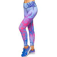 Лосины для фитнеса и йоги с принтом Domino YH62 размер S-L рост 150-180, вес 40-60кг фиолетовый-красный