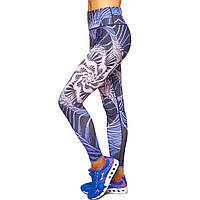Лосины для фитнеса и йоги с принтом Domino YH64 размер S-L рост 150-180, вес 40-60кг синий-бежевый