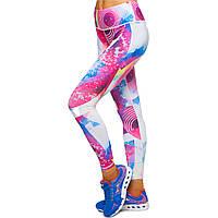 Лосины для фитнеса и йоги с принтом Domino YH93 размер S-L рост 150-180, вес 40-60кг розовый-белый