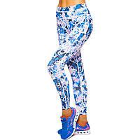 Лосины для фитнеса и йоги с принтом Domino YH122 размер S-L рост 150-180, вес 40-60кг белый-синий
