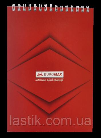 Блокнот на пружине сверху MONOCHROME, JOBMAX, А5, 48 л., красный