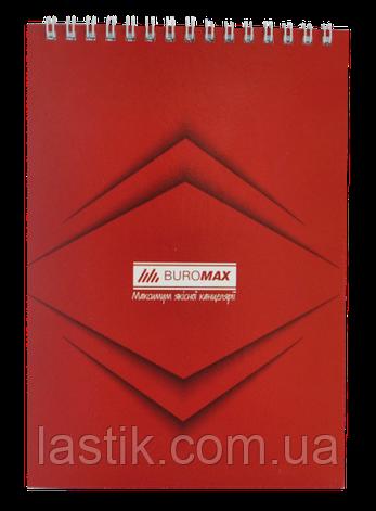 Блокнот на пружине сверху MONOCHROME, JOBMAX, А5, 48 л., красный, фото 2