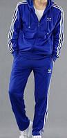 Спортивный костюм Адидас, мужской костюм Adidas, синий костюм, с лампасами, трикотажный