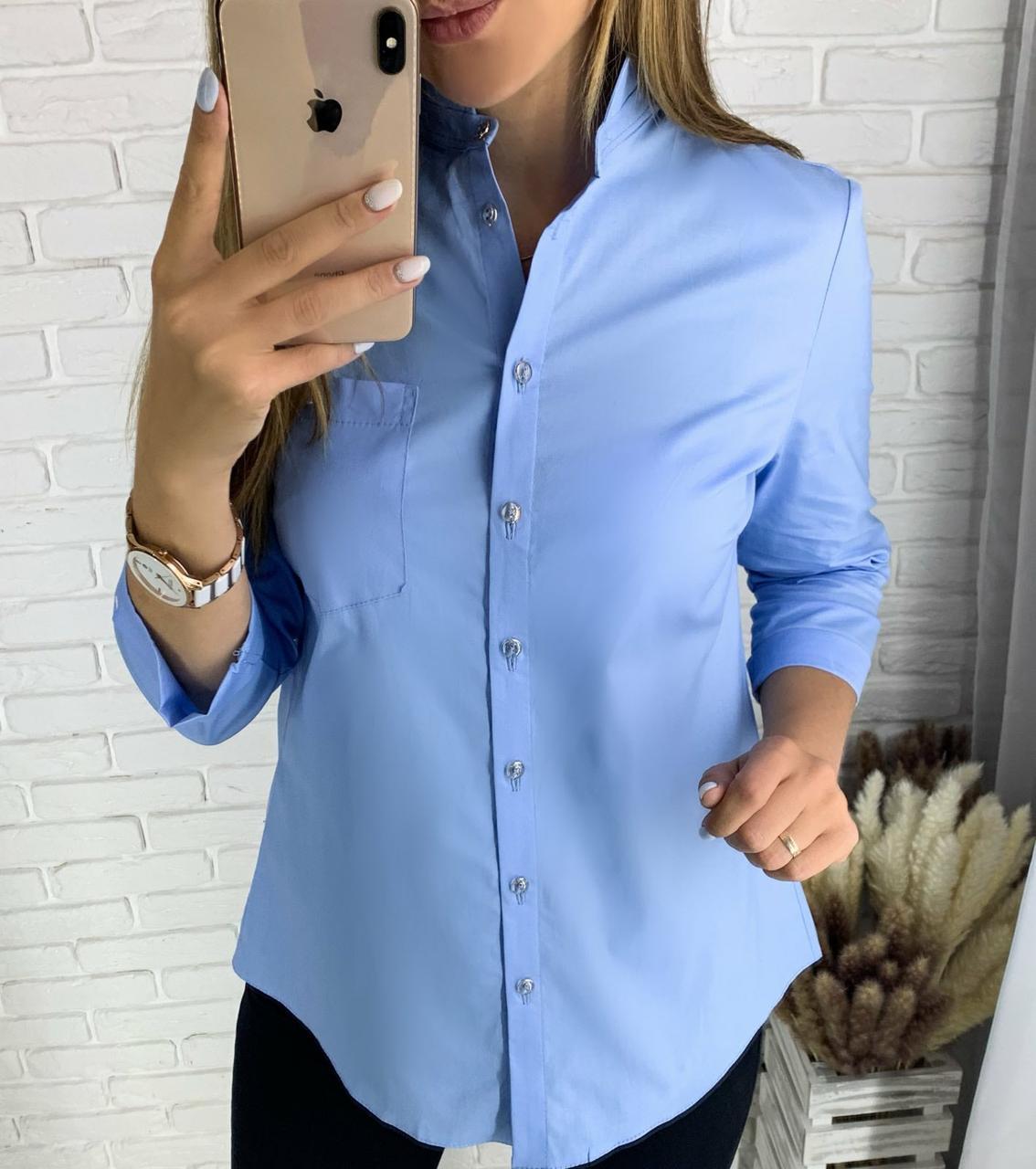 Стильная женская однотонная рубашка 26-260