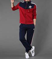 Спортивный костюм Адидас, мужской костюм Adidas, красная кофта верхом, синие штаны, с лампасами, трикотажный
