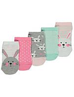 Набор детских заниженных носочков 5 пар с кроликами Джордж для девочки
