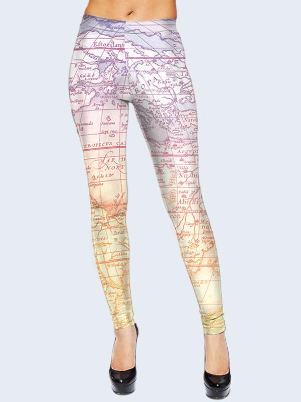 Женские леггинсы Карта Мира. Размер 40 - 50
