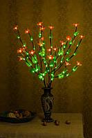 Светодиодные ветви дерева  ( зеленый лист+ Розовый маленький цветок )