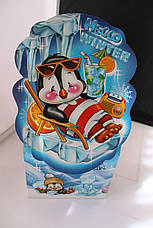 Упаковка святкова новорічна з картону Пінгвін, до 500г, від 1 штуки, фото 3
