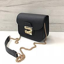 Стильный клатч на цепочке в стиле Фурла со вставкой на плечо (0155) Черный