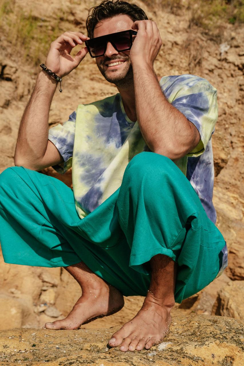 Стильные удобные свободные мужские штаны цвета ментол.