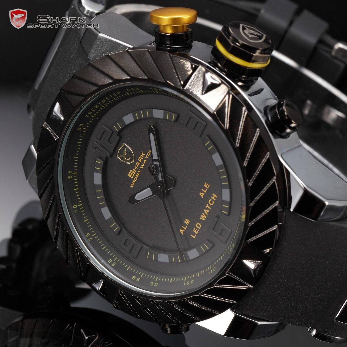Мужские часы SHARK Yellow Military LED Day Date