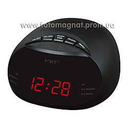 Часы сетевые VST 901-1 с  FM радио и Будильником, Красные