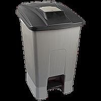 Бак для мусора с педалью Planet 100 л серо-черный