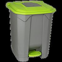 Бак для мусора с педалью Planet 50 л серо-зеленый
