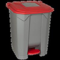 Бак для мусора с педалью Planet 50 л серо-красный