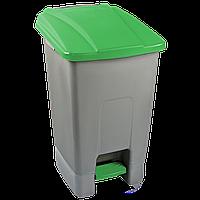Бак для мусора с педалью Planet 70 л серо-зеленый