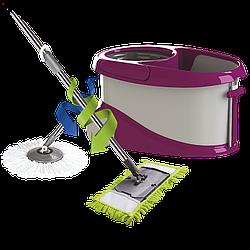 Набор для уборки Planet Spin Mop Gold 20 л + плоская швабра пурпурный
