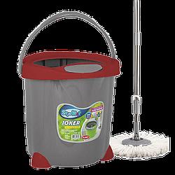 Набор для уборки Planet Spin Mop Joker 15 л серый с красным
