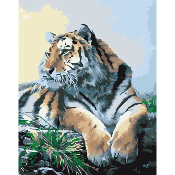 "Картина по номерам. Животные, птицы ""Гордый тигр"" 40х50см KHO2460"