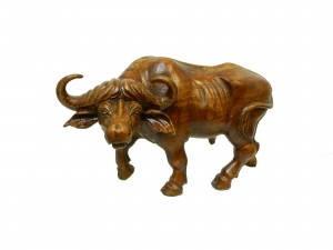 Статуэтка буйвола из натурального дерева махонь темно коричневого цвета