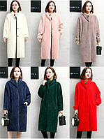 Женское пальто брошка из шерсти Альпака