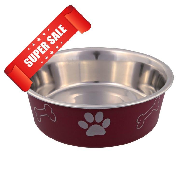 Миска для собак металлическая Trixie на резиновом основании, 450 мл, 14 см, красная