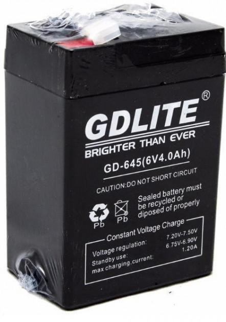 Акумулятор для торгових ліхтарів ваг світильників 6V 4A GDLITE GD-645 чорний