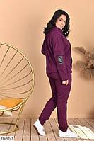 Женский спортиный костюм большие размеры марсаловый SKL11-259285