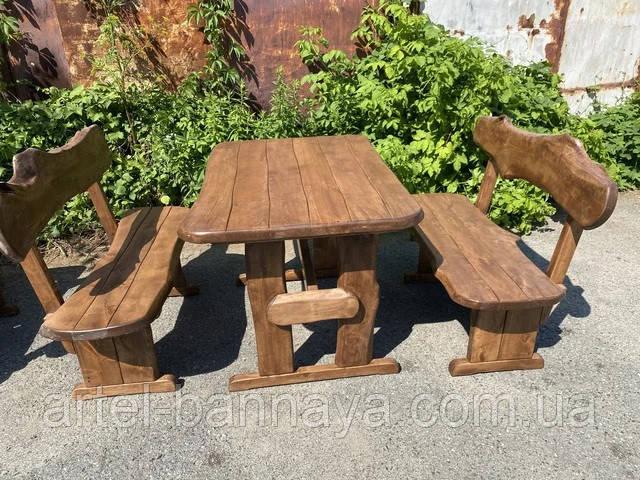Мебель из массива берёзы 1100х800 с живым краем от производителя для дачи, кафе, комплект Furniture set - 32