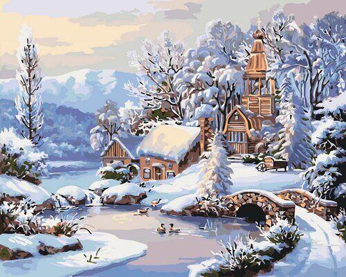 КНО2244 Раскраска по номерам Зимнее утро, Без коробки