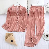 Пижама женская сатиновая в горошек. Комплект атласный для дома, сна с длинным рукавом, р. XL (розовый)