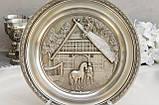 Коллекционная оловянная тарелка, пищевое олово, Германия, сельские мотивы, WMF, фото 2