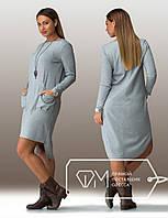 Батальное длинное женское платье с карманами