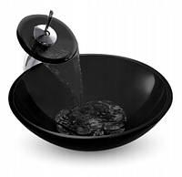 Умывальник круглый стеклянный верхний шар 71008 черный