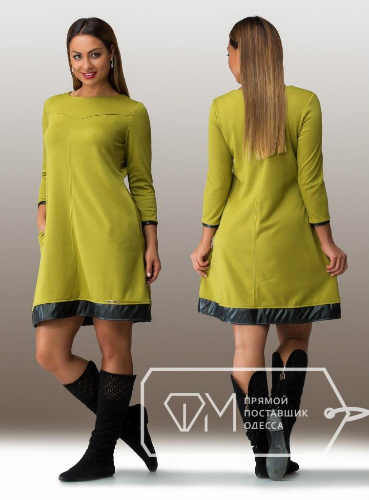 Батальное женское платье с карманами