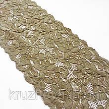 Еластичне (стрейчевое) мереживо сіро-коричневого кольору, ширина 14.5 див.