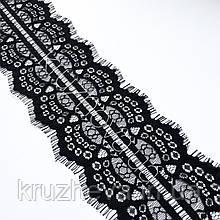 Ажурное французское кружево шантильи (с ресничками) черного цвета шириной 11 см, длина купона 3,0 м.