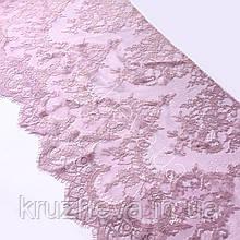 """Ажурное французское кружево шантильи (с ресничками) цвета """"пыльная роза"""" шириной 40 см, длина купона 3,0 м."""