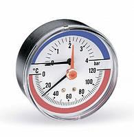 Термоманометр аксиальный, 80, 0-120С, 10 бар, фото 1