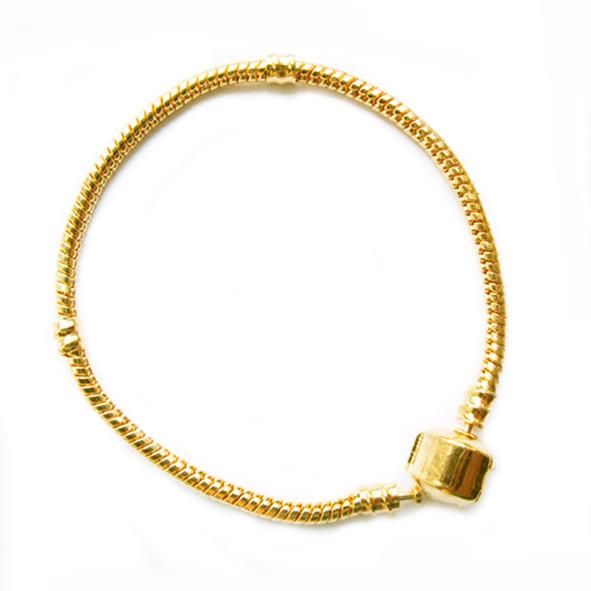 Браслет Основа в стиле Пандора, Металл, Цвет Золото, длина 180 мм, Толщина Основы 3 - 4,5 мм.